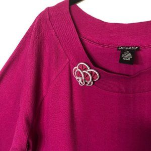 Rafaella Vintage Hot PInk Scoop Neck Sweater